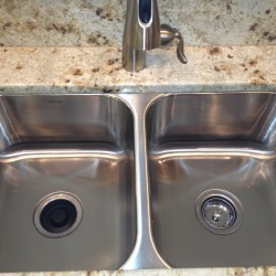 before & after stainless scratched sink repair